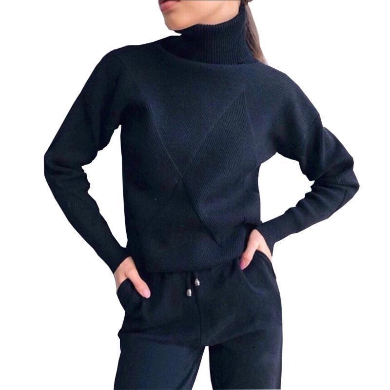Taovk outono tracksite tracksits turtleneck suéter casual ternos mulheres malha pulôvers e longa calça 2 pedaço conjunto feminino