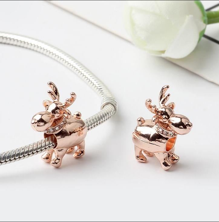 Rose Gold Plated Happy Reindeer Charm Bead with Cz Fit European Pandora Charm Bracelet & Necklace ps2807