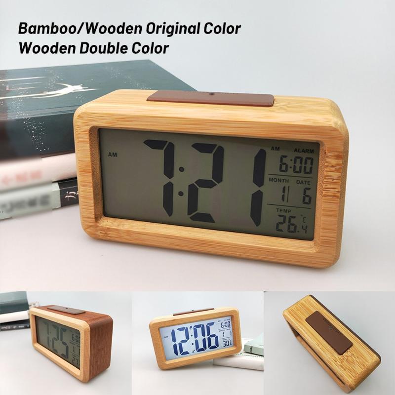 Sveglia digitale in legno, luce notturna del sensore con snooze date temperatura orologio a led orologio da tavolo orologio da parete