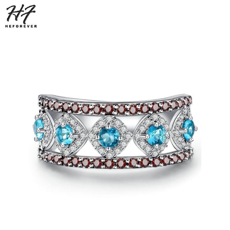 Этническое модное кольцо для женщин-девушка белый золотой цвет синий + CZ мода ювелирные изделия рабочая партия дар YG015 кольца
