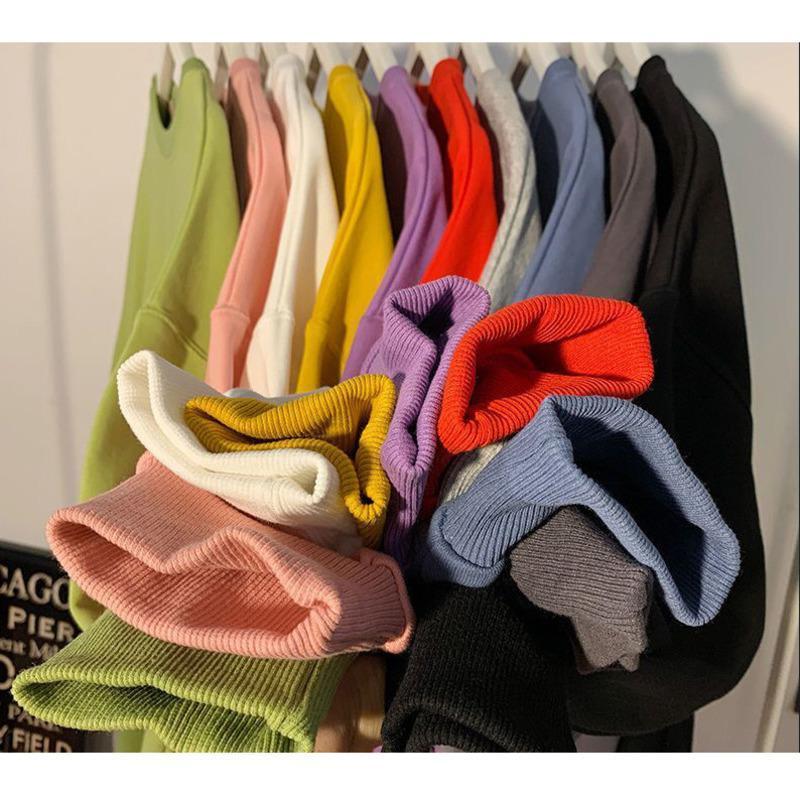 Kadın Hoodies Tişörtü 2021 Kış Kadın Kazak Yuvarlak Boyun Kazak Ter Şeker Renk Uzun kollu Rahat Gevşek Dip Gömlek T