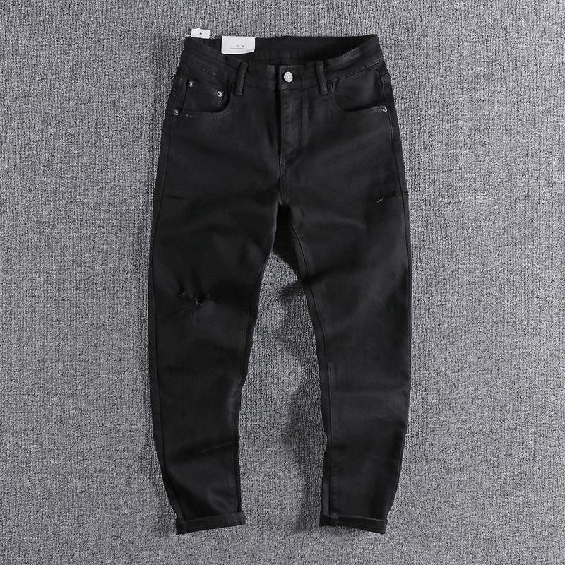Jeans masculinos 2021 na Europa e nos Estados Unidos com buracos Black Magro Leggings Youth Trend Calças para promoção 167