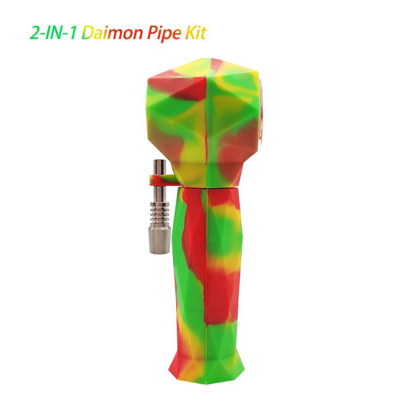 Waxmaid Daimond 2 en 1 Accesorios para fumar Pipa de mano Collector de néctar Six colores mixtos Nave de US Almacén Local
