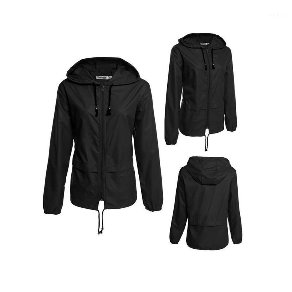 스프링 자켓 여성 여자 방수 방수 여름 자켓 후드 지퍼 얇은 비옷 운동복 겉옷 Coat1