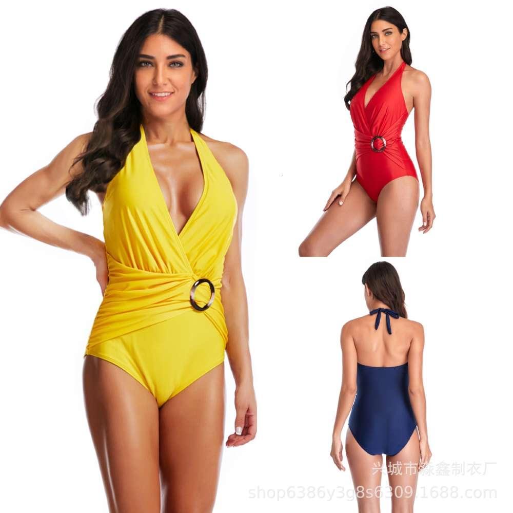 Nuevo traje de baño de bikini sexy de una pieza con cuello