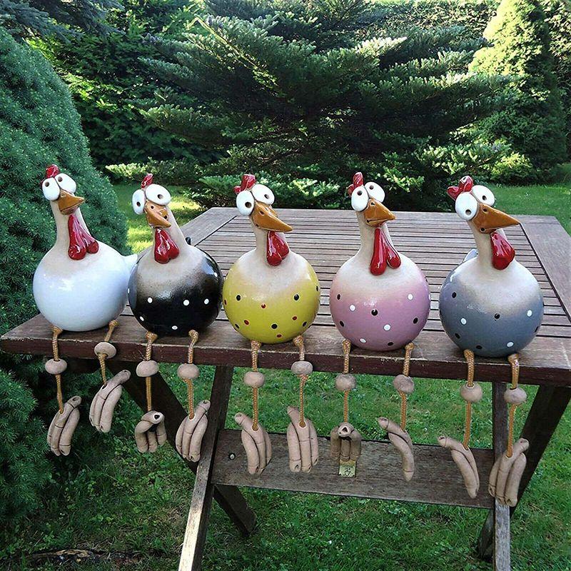 크리 에이 티브 닭 동상 야드 정원 장식 재미 있은 수지 동물 조각 장식품 야외 뒷마당 잔디 닭 입상 장식
