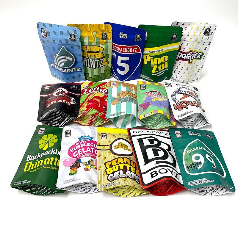 15 Designs Backpack Boyz Borsa a prova di odore con adesivo Bambini resistente per bambini Custodia con cerniera Top 3.5g Mylar Packaging Bags