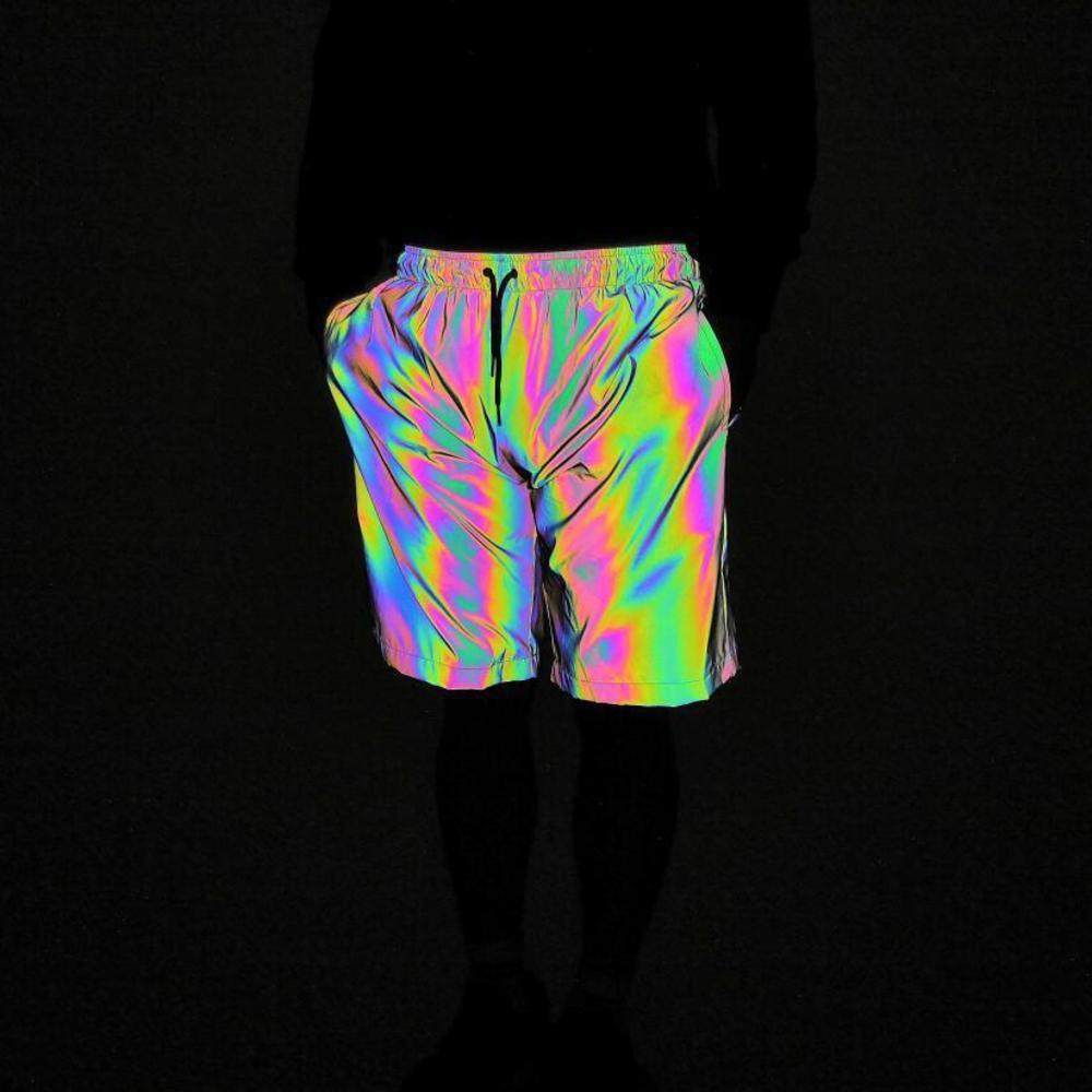 Pantalones cortos de deportes y ocio para hombres Noche Colorida Luz Reflejo NUEVO Color Sólido Moda brillante Correr al aire libre Pantalones cortos de ejercicio