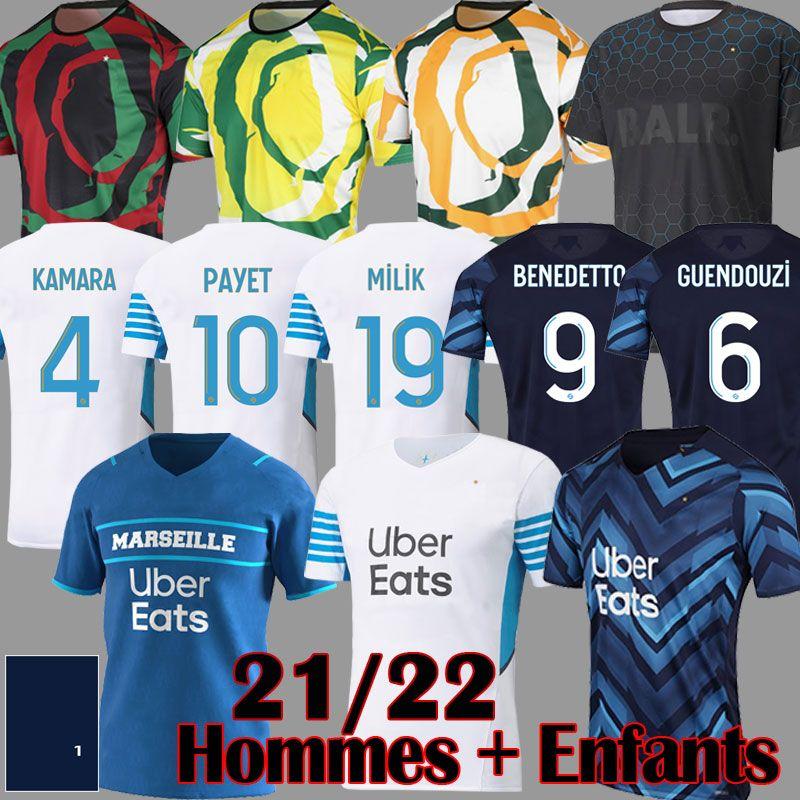 21 22 OM Version Version Futebol Jerseys Uniforme Benedetto Milik Payet Guendouzi 2021 2022 Gerson Luis Henrique Camisas de futebol