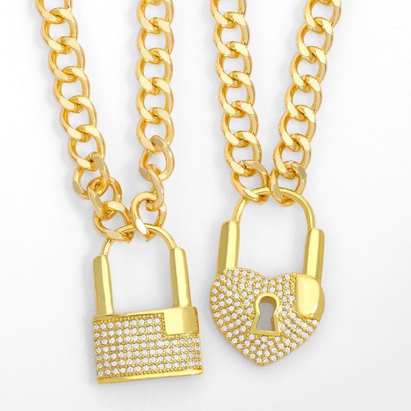 디자이너 ins 다이아몬드 잠금 장치와 함께 빨간 두꺼운 상감이 ot 버클 성격 펜던트 힙합 펑크 쿠바 체인 목걸이 nkt14