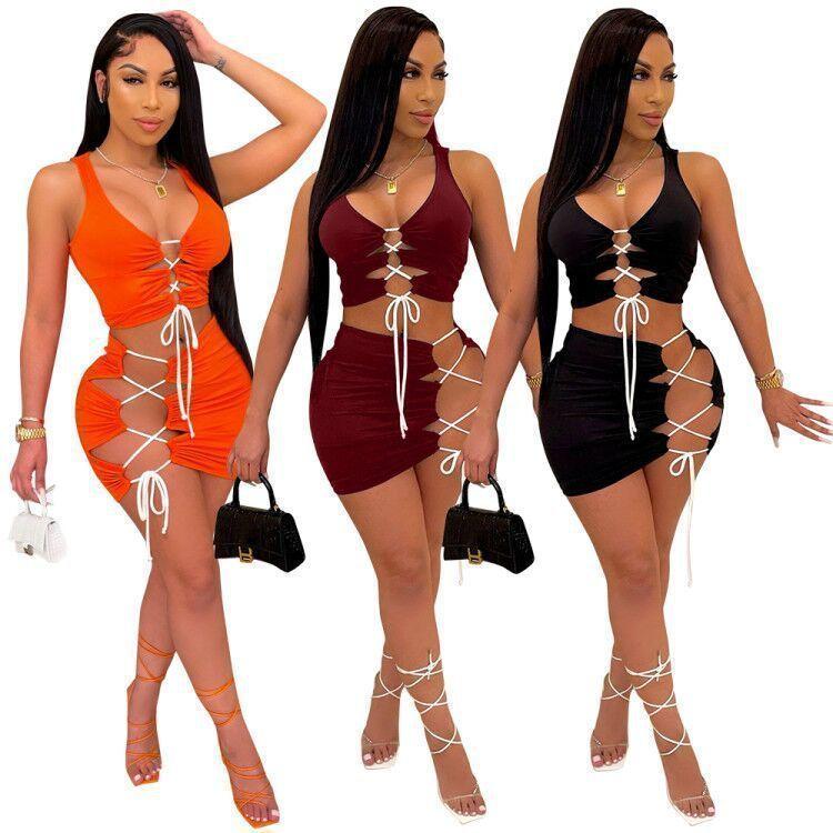 Sommer Womens Solide Farbe Bandage Sexy Zwei Teile Sets Frauen Aushöhlen Mode Sleeveless Bodycon Kurze Rockanzug