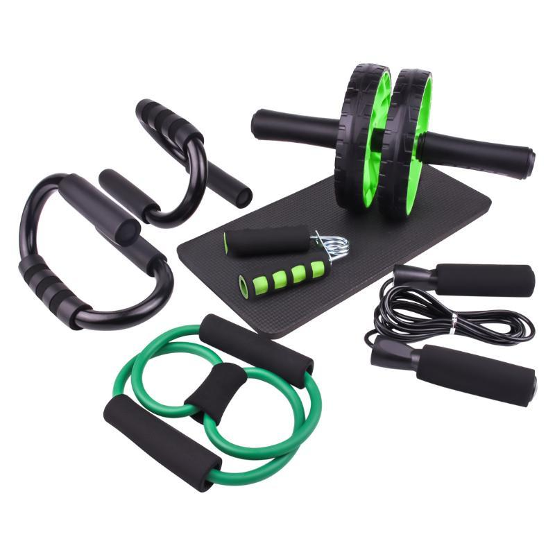 Ab Wheel Roller Kit Skipping Jump Rope Push-Up Bar Set Home Gym Equipment For Men Core Strength Abdominal Exercise Workout Ropes