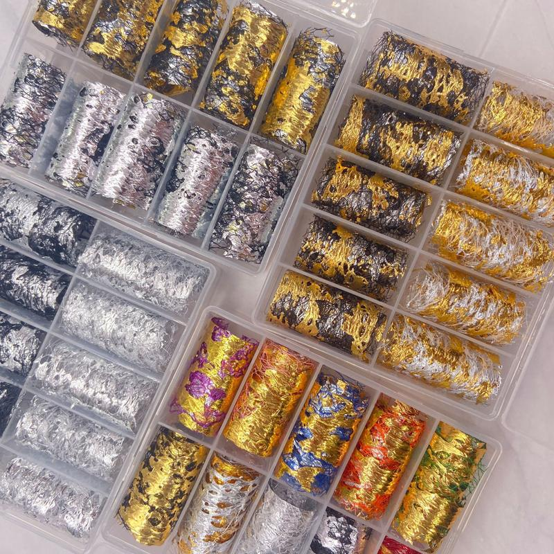 10 Rolls Color Color Nail Art Pegatina de aluminio 3D Malla de oro Plata Plata Clasística Papel Clásico Irregular Pegatinas de Aluminio Transfer Manicures Glitter Decoración DIY Design