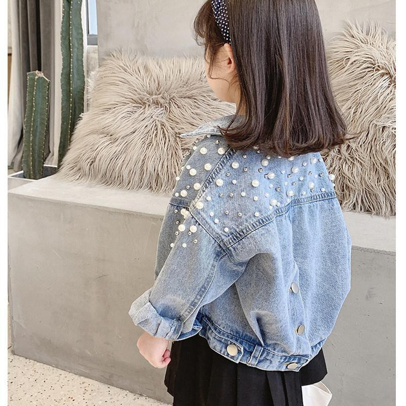 Pearls Beading Denim Jacket For Girls Fashion Coats Children Clothing Autumn Baby Clothes Outerwear Jean Jackets Coat