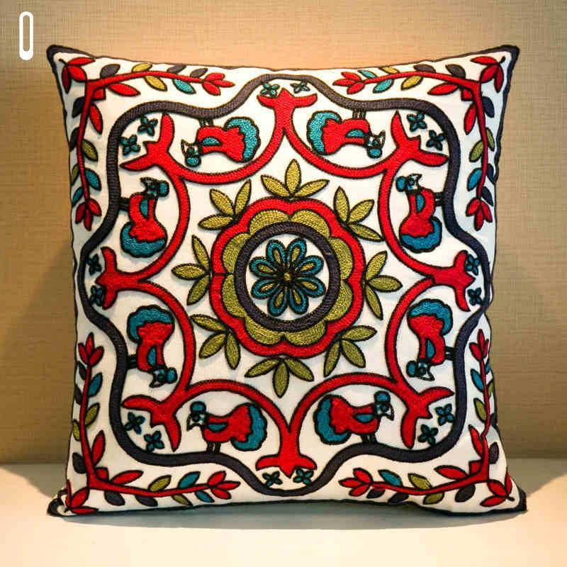 Couverture ethnique brodée à la main geométrique imprimé taie d'oreiller en lin coton oreiller couvre-oreillers Canapé 45x45cm Coussin Coussin # 74432 Coussin / Decoratif