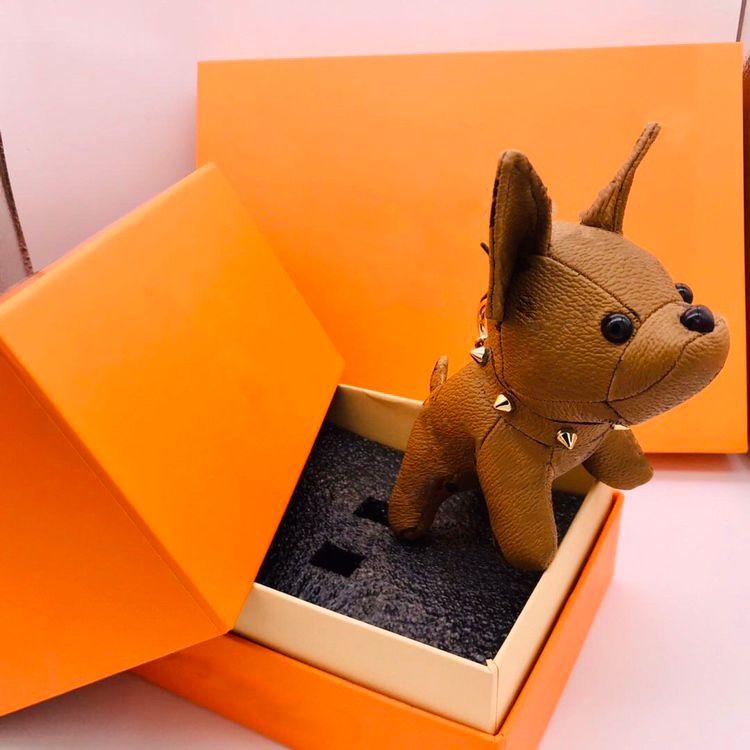 패션 키 체인 디자이너 키 버클 지갑 지갑 펜던트 가방 개 디자인 럭셔리 인형 체인 키 버클 7 색 고품질 상자 옵션
