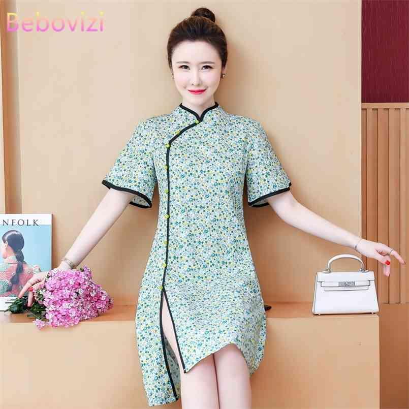 BEBOVIZI PLUS GRÖSSE M-4XL 3XL Chinesischer Stil Elegante grüne Kurzarm A-Line Midikleid Sommer Cheongsam Kleider für Frau QIPAO 210603