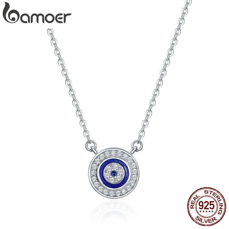 100% 925 Sterling Silber Glück blau Auge Klar CZ Anhänger Halskette Frauen Luxus Sterling Silber Schmuck SCN165 210512