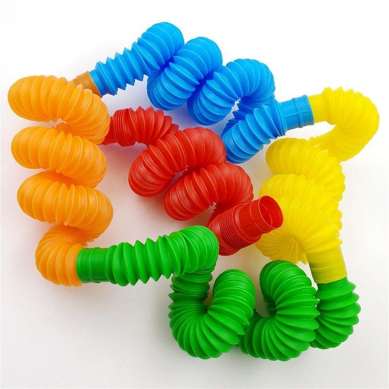 다채로운 플라스틱 팝 튜브 장난감 파티 호의 트위스트 손가락 튜브 압력 Fidget 감각 장난감 스트레치 텔레스코픽 녹색 빨간색 파란색 어린이 8 y2