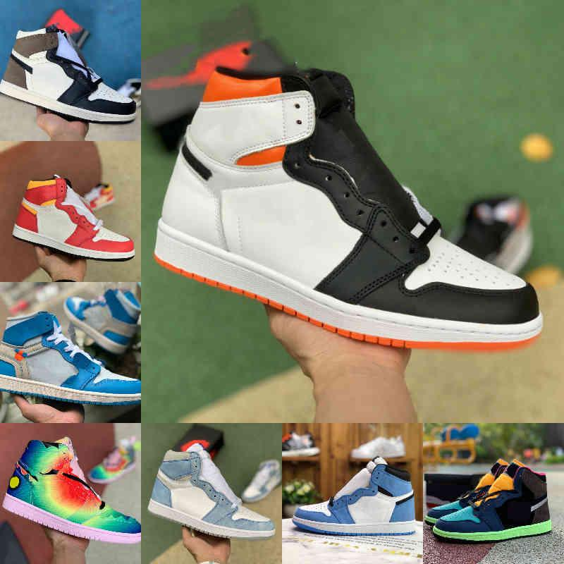 2021 Erkek Kadın 1 1 S Basketbol Ayakkabı Bio Hack Şeker Koyu Mocha Üniversitesi Mavi Jordán Hiper Kraliyet Mavi Air UNC Patent Beyaz Siyah Chicago Yeşil Toe Parçası Sneakers