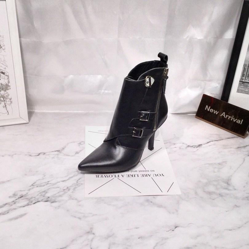 Lujo sexy moda puntiagudo zapato cuero stiletto botas gruesas 9,5 cm tacones de altura zapatos de plataforma de encaje de cuero de invierno Tamaño de las señoras 35-40 con caja