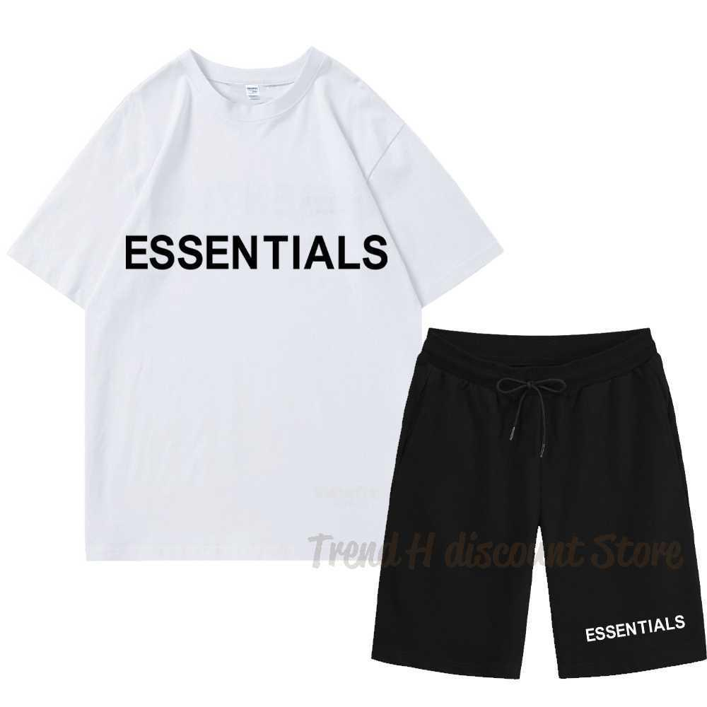 Marka Essentials Komik Erkekler T Gömlek + Plaj Şort Setleri 2021 Yaz Spor Koşu Pantolon T-Shirt Streetwear Harajuku Tshir X0610 Tops