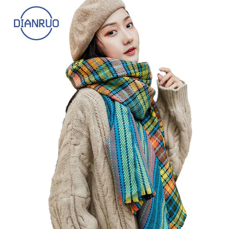 Dianruo automne hiver imitation Cashmere Hijab Long Long britannique écharpe à carreaux pour femmes mode occasionnel châle chaud Q463
