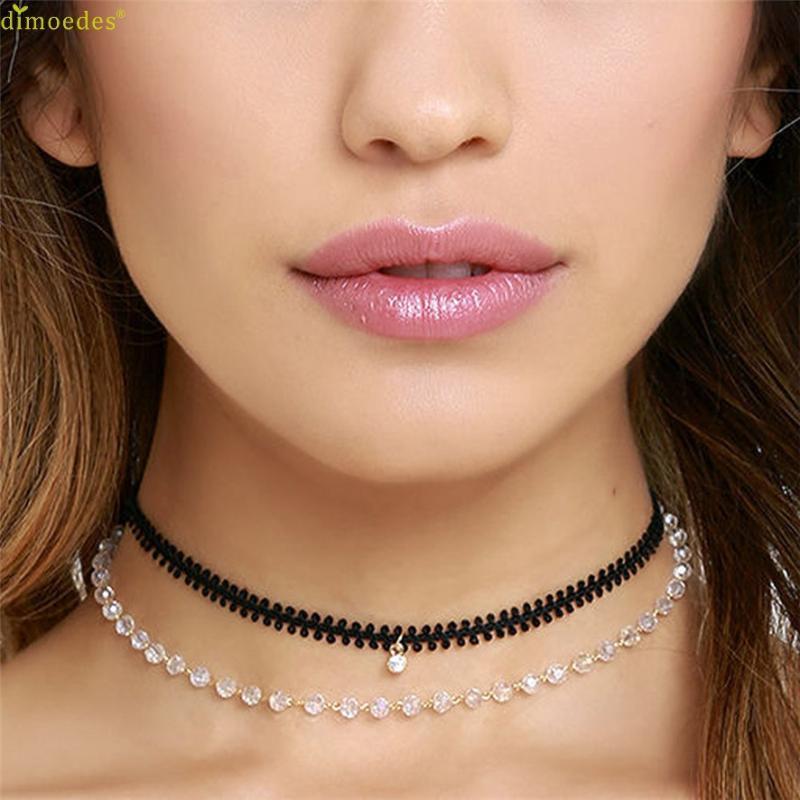 Marke Fashion Damen Punk Crystal Doppelkette Halskette Halsband CHOKER 252510 Chokers