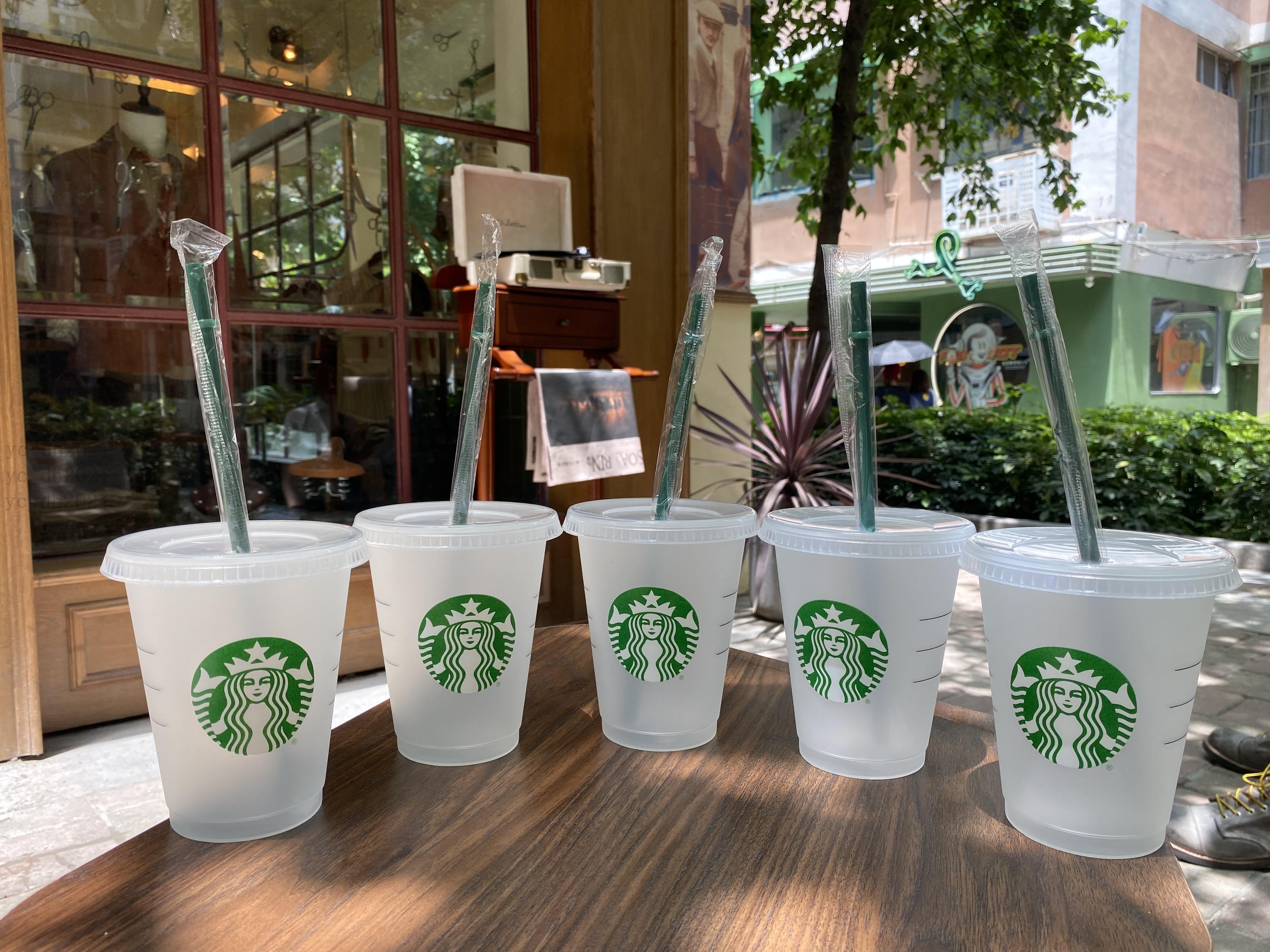 ستاربكس 16 أوقية / 473ML البلاستيك بهلوان قابلة لإعادة الاستخدام شرب شرب مسطح أسفل كأس عمود شكل غطاء أكواب القش