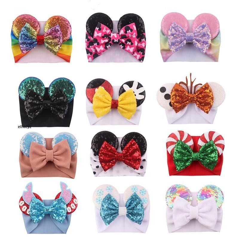 Baby Stirnband mit Pailletten Große Bogen Maus Ohr Weihnachten Halloween Glitter Boutique Für Mädchen Weihnachten Elastische Haare Kopfband Samt Accesesory Party DHL