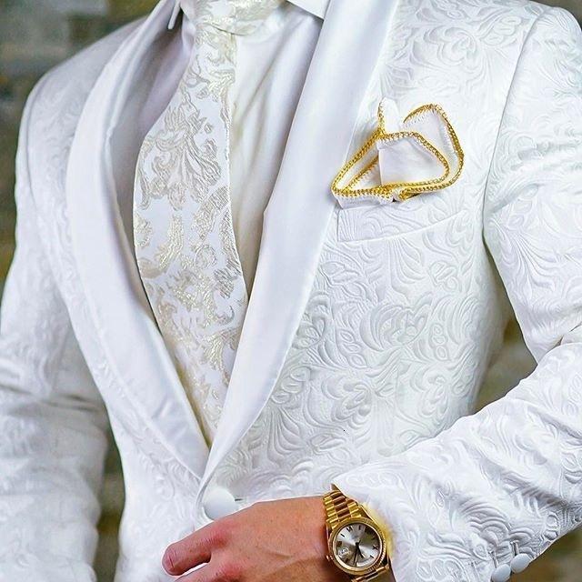 جودة عالية زر واحد أبيض بيزلي العريس البدلات الرسمية شال التلبيب رفقاء رفقاء الرجال الدعاوى الحلل (سترة + سروال + التعادل) W: 715