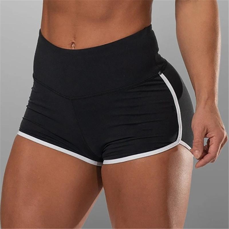 Femme Sports Shorts High Taille Shorts Femmes Élégante Dame Exercice Actif Stretch Pantalon Short Push Up Sportswear Séchage rapide X0320