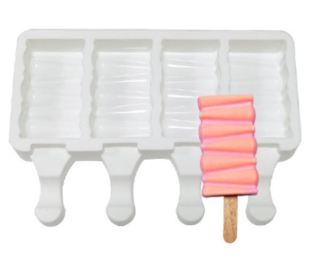 Nuevo Comedor 4 Células Moldes de helado de silicona Hecho en casa Freda de alimentos Hielo Lolly Moldes Congelador Helado Bar Molds Maker