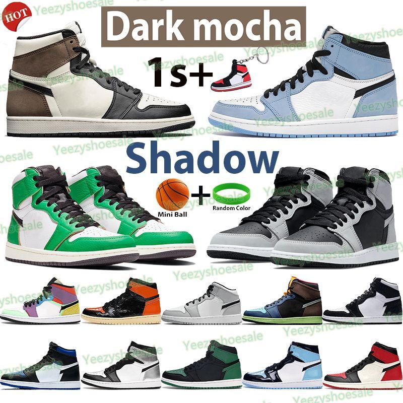 Серебряный носок 1 1S мужчин баскетбольные ботинки высокие темные Mocha Shadow unc патентный университет синий свет дым серый чикаго твист королевские спортивные кроссовки
