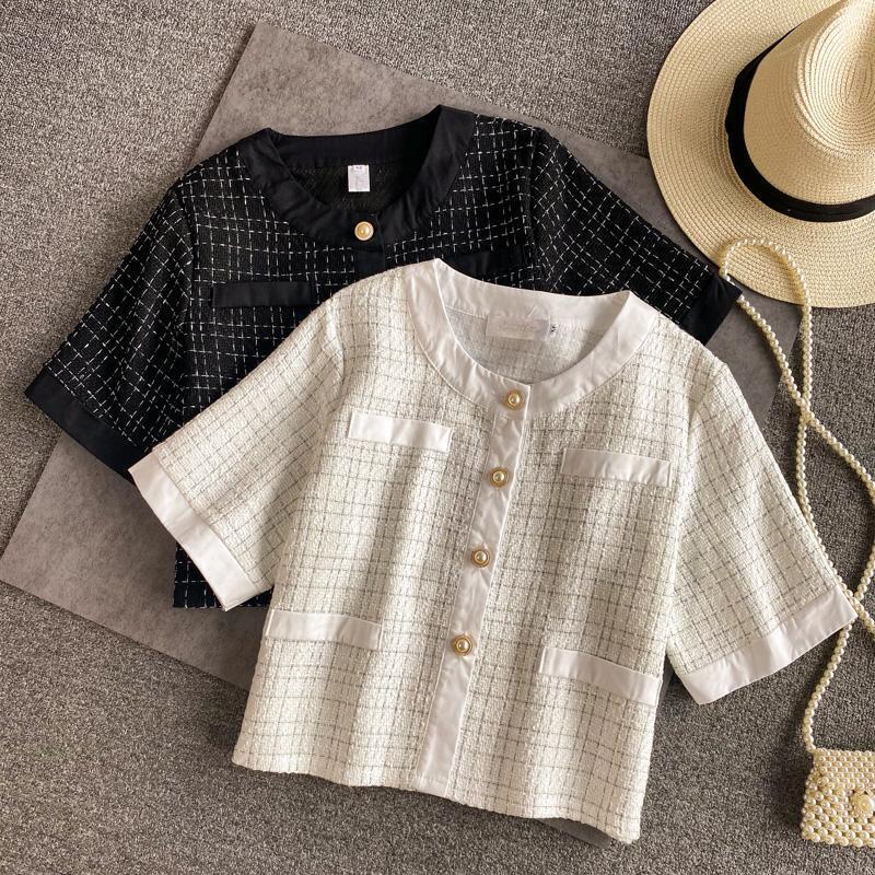 Verão 2021 Pequeno fragrância Cardigan Casaco de lã Mulheres Crop Top Moda Vintage Britânico Outwear Tweed Jaqueta Curta Mulheres Casacos