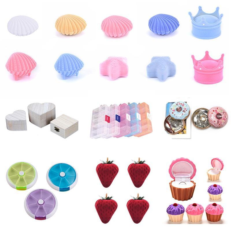 Jewelry Pouches, Bags Pendant Necklace Boxes Gift Box Pink Ribbon Storage Ring Packaging Container Beads Earring For