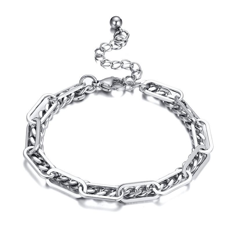Thin Layered Chain Bracelet For Girls Men Never Fade Stainless Steel Cuban Rectangle Paperclip Link Bracelets Trendy Lady Party Jewelry