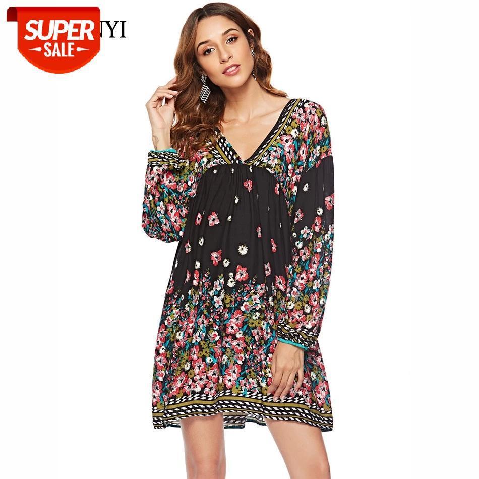 Guyunyi vestido casual para mujer pequeño sexy con cuello en v juventud vestido de animación floral de la linterna floral con ropa cómoda CX1136 # VQ6G
