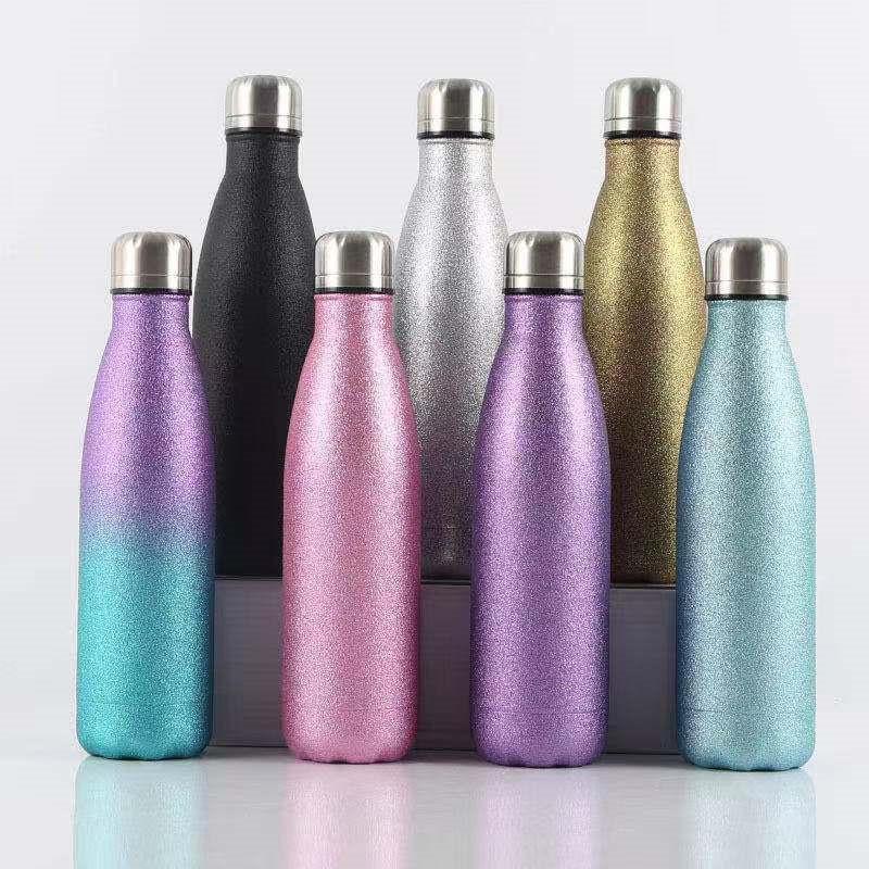 500ml Glitter Cola Wasserflasche Edelstahl Thermos Vakuum Isolierte Süßigkeiten Farbsportflasche für Outdoor Camping