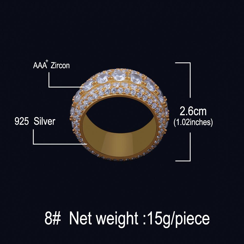 Европейские и американские мужские высококлассы S925 серебряное кольцо с полным цирконом Hiphop Большое кольцо против окисления и удерживающих цветов аксессуары