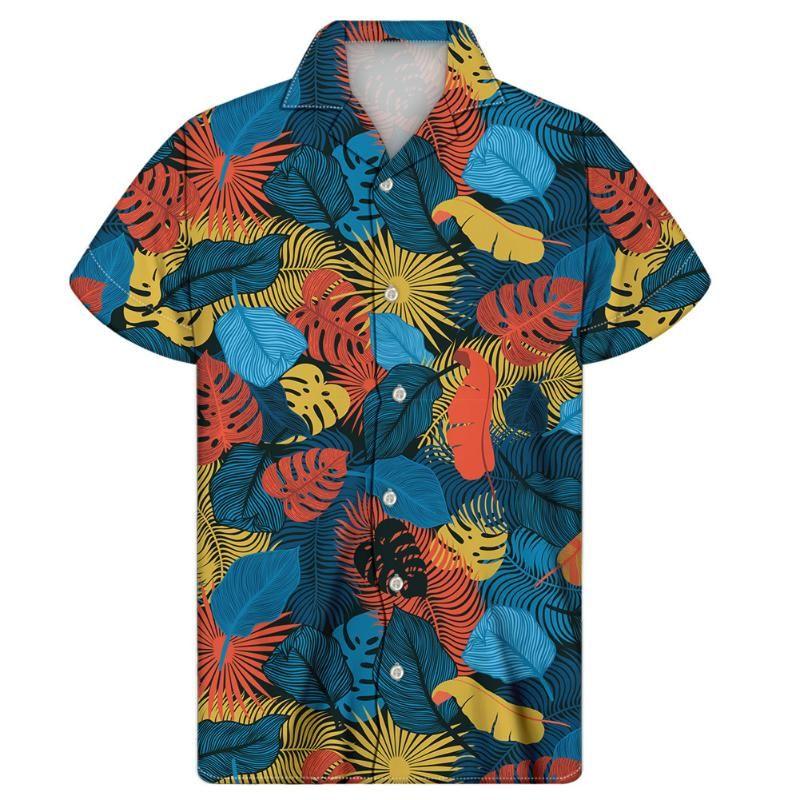 استوائية غريبة النخيل النخيل نمط الرجال شارع 2021 هاواي بيتش المعتاد الملابس الذكور حامل القمصان الأعلى الرجال عارضة