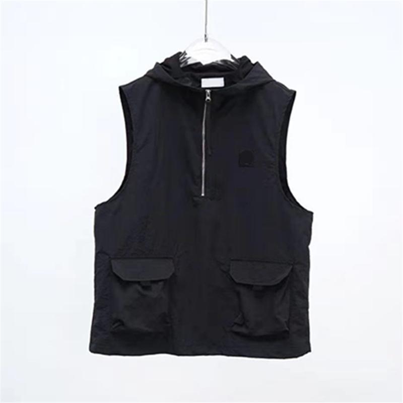 Yaz Basit Nakış Logo erkek Yelekler Katı Kapşonlu Çiftin Ceket Siyah Takım Yelek Casual Kolsuz Ceket Avrupa ve Amerikan Moda Marka