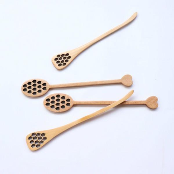 خشبي العسل القهوة الملاعق طويلة خلط ملعقة النحل أدوات النمام الطين التحريك عصا dipper الخشب نحت GWB7316