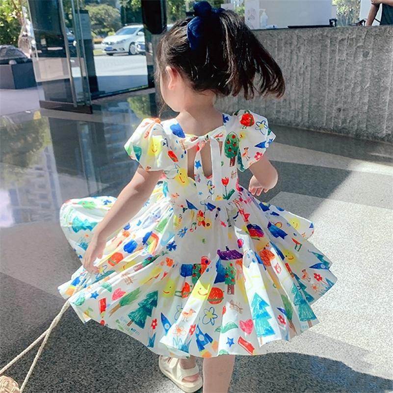 Vestido de meninas de verão nova manga de sopro casual festa de desenhos animados princesa vestido bonito desgaste crianças bebê crianças meninas roupas 210319