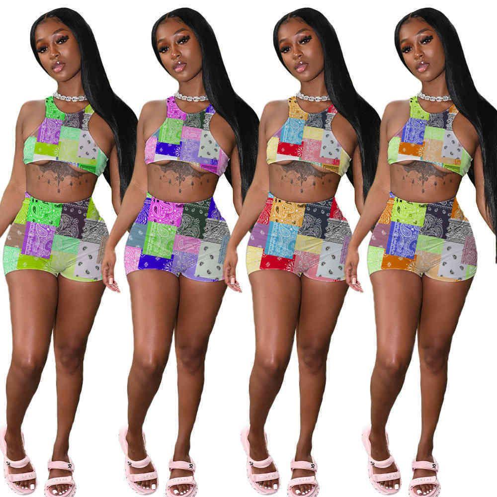 Женщины дизайнеры Одежда 2021 трексуиты летние сексуальные два куска наборов дизайнер моды круглые шеи ретро печать решетка сращивание жилет шорты костюм