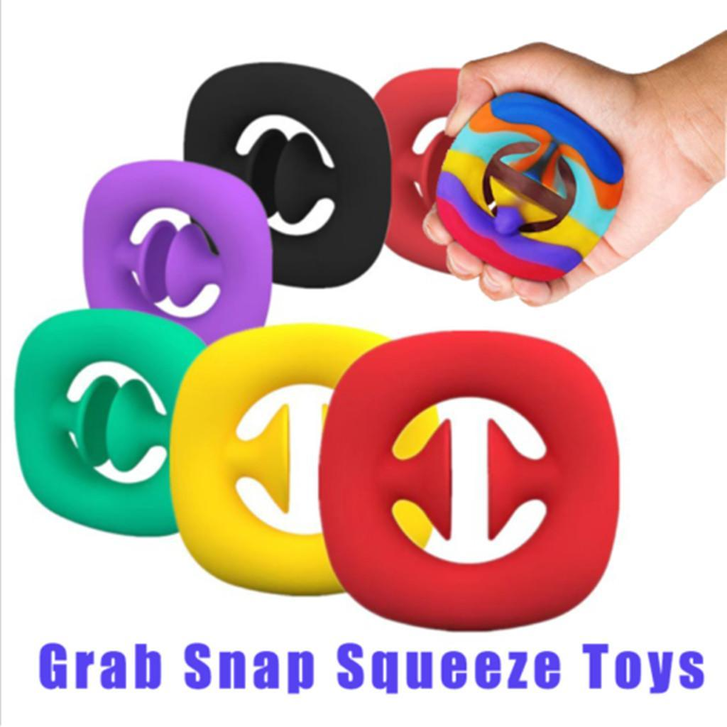 Grab Snap Squeeze Toy Fidget Snappers Hand Strength Grip Squeezy Snap Fidget Ring Toys Sensory Tool ADHD Autism Stress Relief
