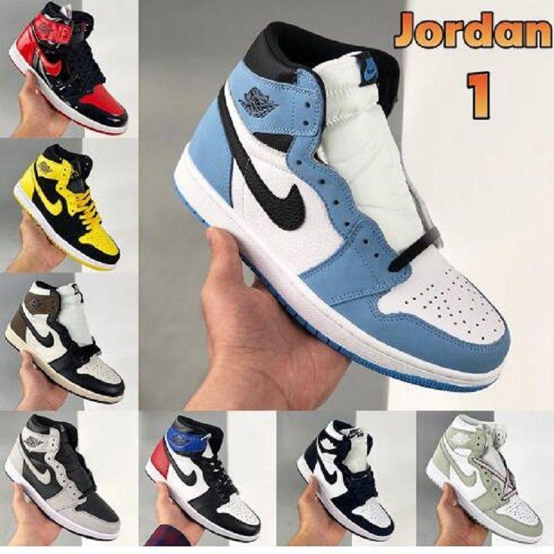 الهواء الرجعية الأردن الرجال 1 1S جامعة الأزرق كرة السلة الأحذية فرط الملكي 3 الظلام mocha الكهربائية البرتقالي unc رجل المرأة حذاء andd1y الأعلى