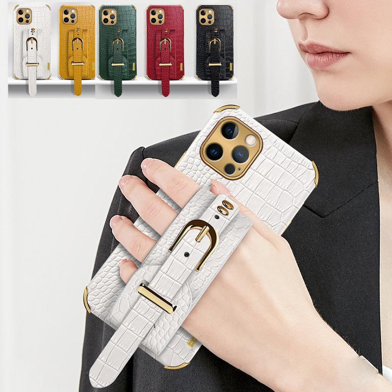 1 stücke Krokodil Muster Armband Hüllen für iPhone 11 12 PRO XS MAX 8 7 PLUS X XR SE2020 Stoßfest Anti-Fall Kickstand Luxus Schutztelefon