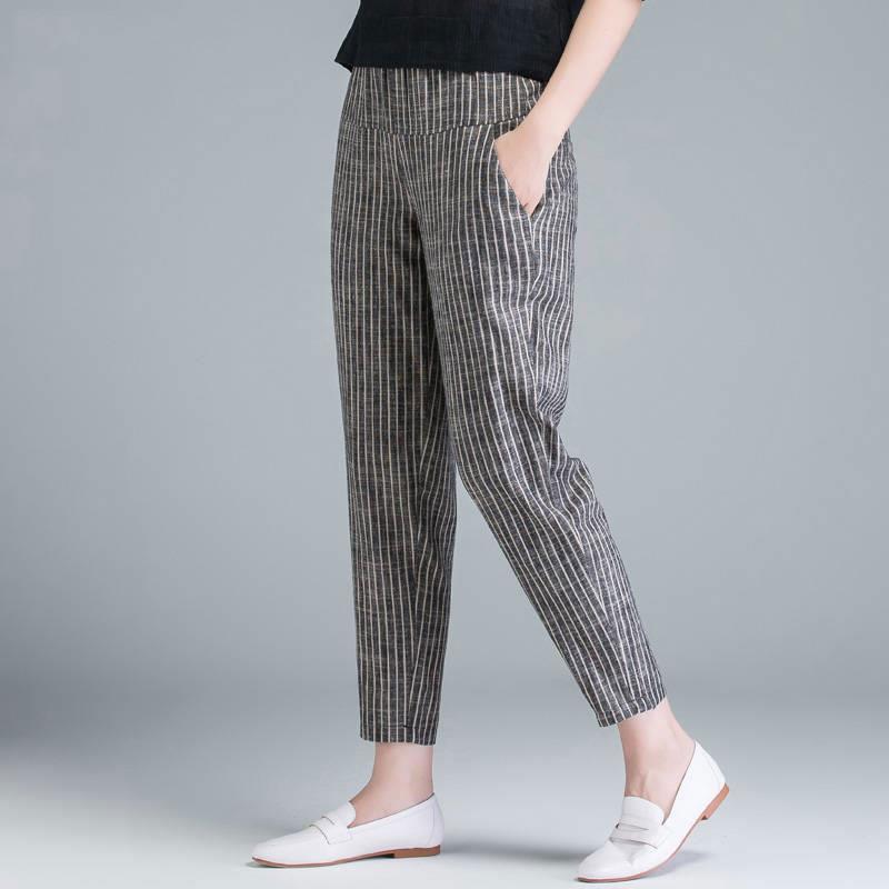 FJE Varış Yaz Kadın Pantolon Artı Boyutu Kore Moda Yüksek Bel Ince Rahat Harem Çizgili Pamuk Keten Pantolon D45 Kadın Capris