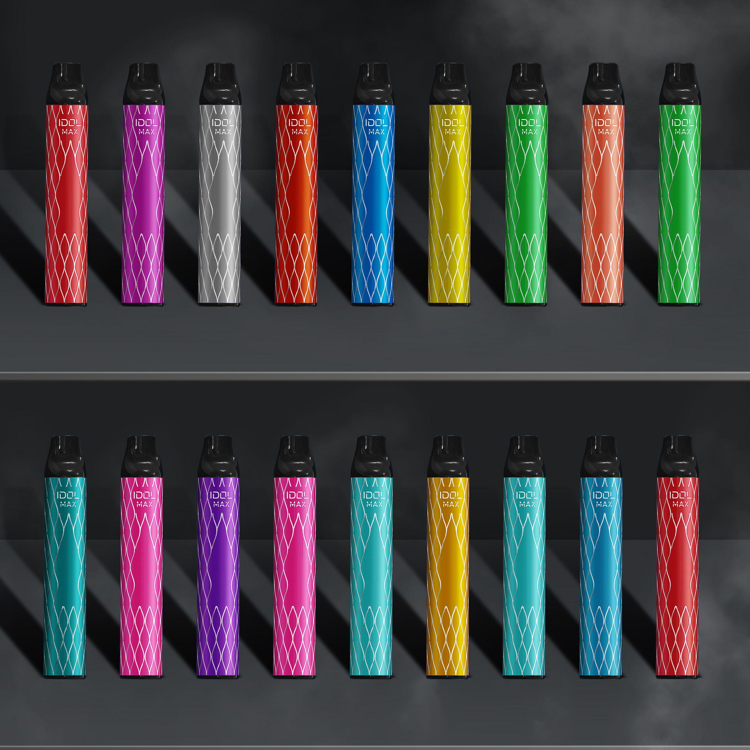 Original Hzko Idol Max 일회용 포드 장치 키트 1100mAh 배터리 2000 퍼프 프리 퀼트 6.5ml 포드 카트리지 vape 펜 전자 담배 플러스 바 100 % 정통